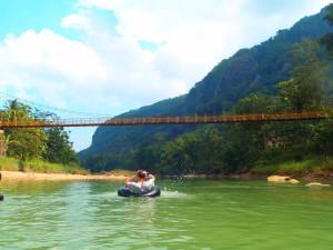 Oya river tubing at Imogiri village